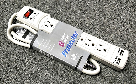 3F POWERBAR W/6 OUTLETS SURGE PORTECTION/W 2USB(2.1A)PORT